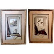 Pair of Frame Trompe l'oeil Oil Paintings Signed C Barre