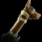 Vintage Umbrella with Carved Figural Wooden Handle Dog
