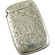 Antique Sterling Silver Match Safe Strike Vesta Case