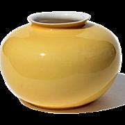SALE Chinese Middle Kingdon Porcelain Canary Yellow Vase Signed Bo Jia