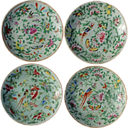 Set Of Four 19th Century Chinese Famille Rose Celadon Plates