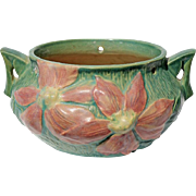 Vintage Roseville Pottery Hanging Green & Pink Clematis Planter, Circa 1944