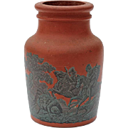 SALE Antique English Redware Pottery Snuff Jar With Hunt Scene, Circa 1860