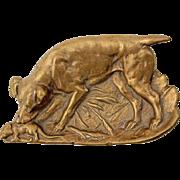SALE Early Vintage Brass Dog Tray