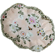 Japanese Signed Hand-Painted Floral Kutani Oval Bowl, Circa 1920