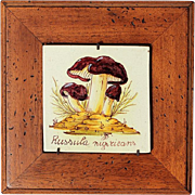 Antique Hand-Painted Italian Pottery Mushroom Tile In Wooden Frame, Circa 1910