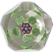 Antique Baccarat Faceted Millefiori Paperweight