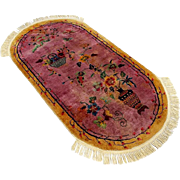 Vintage Chinese Art Deco Oval Carpet, Circa 1930