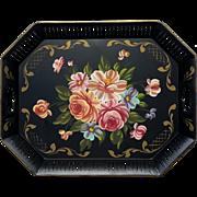 SALE Large Vintage Floral Painted Black Metal Tole Tray