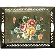 SALE Vintage Hand-Decorated Floral Metal Tole Tray