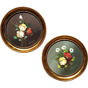 SALE Pair Of Vintage Hand-Painted Spanish Florals In Gilt Wood Frames