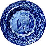 SALE 19th Century Flow Blue Scenic Plate, Circa 1860