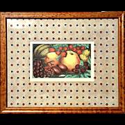 SALE Antique Color Lithograph Of Fruit In Birdseye Maple Frame, Circa 1900