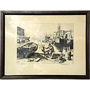 SALE Vintage Signed Engraving By Lionel Barrymore Titled Purdy's Basin