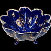 Antique Japanese Cobalt Glazed Porcelain Footed Bowl With Gold Decoration