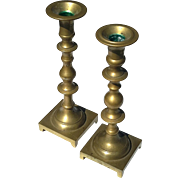 Pair Of Early Vintage Solid Brass Candlesticks