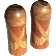 SALE Pair Of Artist Made Inlaid Satin Wood Salt And Pepper Shakers