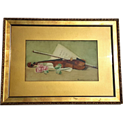 Signed Antique Gilt Wood Framed Water Color Painting, Circa 1903