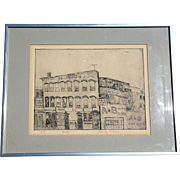 SALE Signed Vintage Engraving Titled Auto, Circa 1950