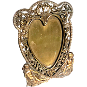SALE Antique Victorian Brass Heart And Cherubs Picture Frame