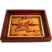 SALE Early Vintage Framed Marquetry Inlaid Wood Terrier Dog, Circa 1920