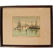 Early Vintage Signed Color Woodcut Print By D.N. Morgan, Circa 1920