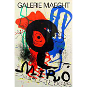 Vintage Original Joan Miro Lithograph Poster, Circa 1950