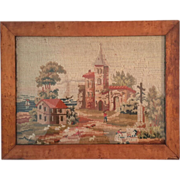 19th Century Framed Needlepoint Of A European Castle Landscape