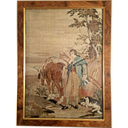 19th Century Framed Needlepoint Of A Man With Horses & A Dog