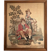 SALE 19th Century Framed Needlepoint Of Two Young Men