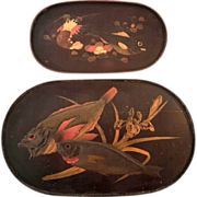 SALE Set Of Two 19th Century Japanese Lacquered Oval Trays