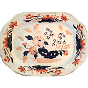 SALE Early 19th Century Opaque Platter In Masons Ironstone Colors, Circa 1820