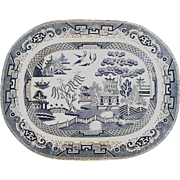 Large Early 19th Century Staffordshire Soft Paste English Blue Willow Platter, Circa 1840