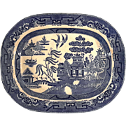 Large Early 20th Century Staffordshire Ridgeway Blue Willow Platter, Circa 1925