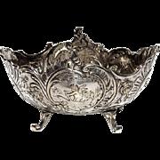 SALE Antique Continental 800 Silver Footed Putti Bowl, Circa 1900