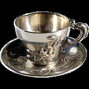SALE Antique Continental 800 Silver Tea Cup & Saucer, Circa 1900
