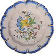 18th Century French Faience Glazed Floral Plate, Dated 1783