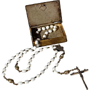 SALE Vintage Glass Bead Rosary In The Original Silverplated Book Box With A Relief Of ...