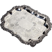 SALE 19th Century Sheffield Silverplate Footed Tray
