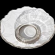 Vintage Etched Crystal Bonbon Dish With Sterling Silver Base