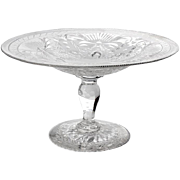 SALE Antique Pairpoint Glass Pedistal Bowl, Circa 1890