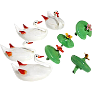 Antique Set Of Four German Art Glass Swans With Blooming Water Lilly, Circa 1900