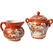 Early Vintage Signed Japanese Kutani Porcelain Cream And Sugar, Circa 1920