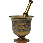 SOLD 19th Century Solid Brass Mortar And Pestle