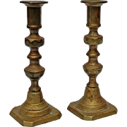 Pair Of 19th Century Brass Push-up Candlesticks, Circa 1875