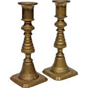 SOLD Small Pair Of 19th Century Brass Candlesticks, Circa 1875