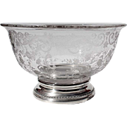 SALE Vintage Etched Glass Bowl With Sterling Silver Base By The Sheffield Silver Company, Circ