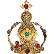 SALE Antique Jeweled Gold Metal Santos Crown, Circa 1900