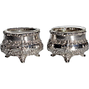 Pair Of Antique Sterling Silver Salt Cellars With Glass Inserts, Circa 1900