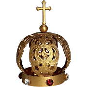 SALE Antique Small Gold Metal Santos Crown With Faceted Jewels, Circa 1910.